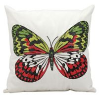 Mina Victory Butterfly 18-Inch Square Outdoor Throw Pillow in White