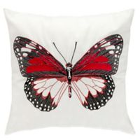 Mina Victory Red Butterfly 18-Inch Square Outdoor Throw Pillow
