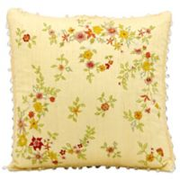 Mina Victory 16-Inch x 16-Inch Silk Throw Pillow with Floral Embroidery in Yellow