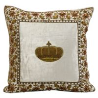 Mina Victory Wire Embroidery Crown Square Throw Pillow in Blue