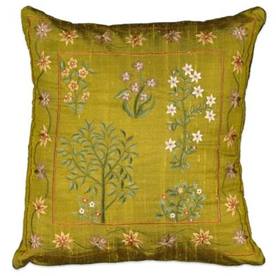 Ordinaire Mina Victory Square Silk Embroidered Throw Pillow In Green