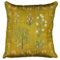 Mina Victory Square Silk-Embroidered Throw Pillow in Green