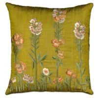 Mina Victory Silk Botanical Flowers Square Throw Pillow in Green