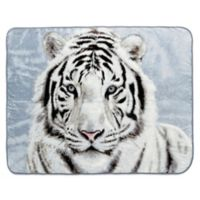 Shavel Home Products White Tiger Luxury Oversized Throw Blanket