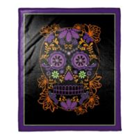Halloween Sugar Skull Throw Blanket