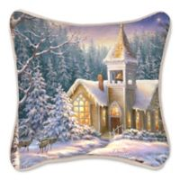 Winter Chapel Square Throw Pillow