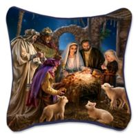Away in a Manger Holiday Square Throw Pillow in Blue