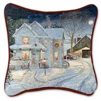 Tapestry Country Night Holiday Square Throw Pillow in White