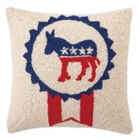 America Hook Square Democrat Throw Pillow in Blue