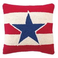 American Hook Square American Star Throw Pillow in Red