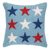 Americana Stars Emblem Hand-Hooked Square Throw Pillow in Light Blue