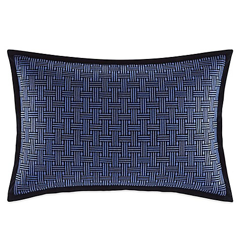 Nautica Decorative Pillows Navy : Nautica Eldridge Embroidered Cross-Stitch Oblong Throw Pillow in Navy - Bed Bath & Beyond