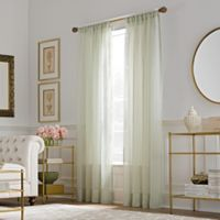 Valeron Belvedere Sheer 108-Inch Rod Pocket Window Curtain Panel in Seafoam