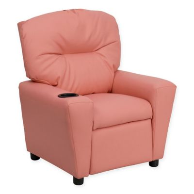 Flash Furniture Vinyl Kids Recliner With Cup Holder In Pink