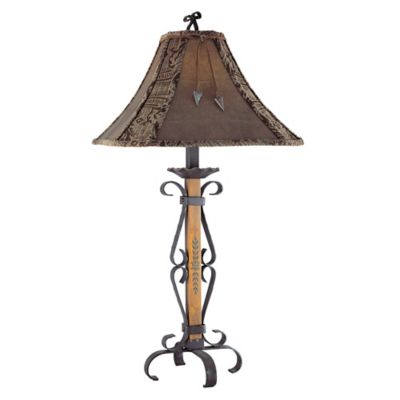 Buy leather lamp shades from bed bath beyond pacific coast lighting el paso table lamp in fruitwood with faux leather shade aloadofball Choice Image