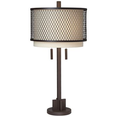 pacific coast lighting mesh collection industrial table lamp with double shade