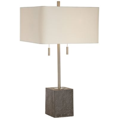 Kathy ireland essentials riverside table lamp in brushed nickel with linen square shade
