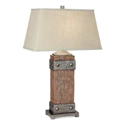 pacific coast lighting rockledge table lamp in dark fruitwood with rectangle shade