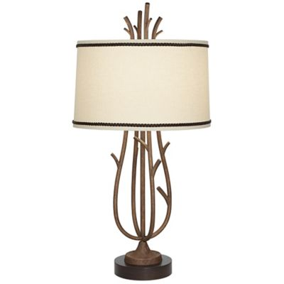 Pacific Coast Lighting Rustic Twig Cage Table Lamp in Rust with Linen Shade