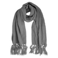 Fringe-Detailed Textured Knit Scarf in Grey