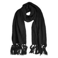 Fringe-Detailed Textured Knit Scarf in Black