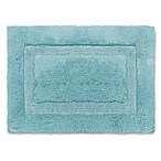 Wamsutta® Luxury 17-Inch x 24-Inch Border Plush MicroCotton Bath Rug in Aqua