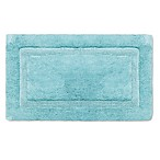 Wamsutta® Luxury 21-Inch x 34-Inch Border Plush MicroCotton Bath Rug in Aqua