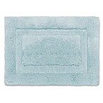 Wamsutta® Luxury 17-Inch x 24-Inch Border Plush MicroCotton Bath Rug in Sea Glass