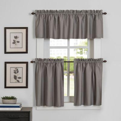 Newport 45 Inch Kitchen Window Curtain Tier Pair In Grey