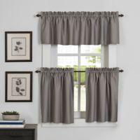 Newport 45-Inch Kitchen Window Curtain Tier Pair in Grey