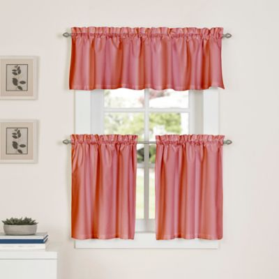 Delightful Newport 45 Inch Kitchen Window Curtain Tier Pair In Coral
