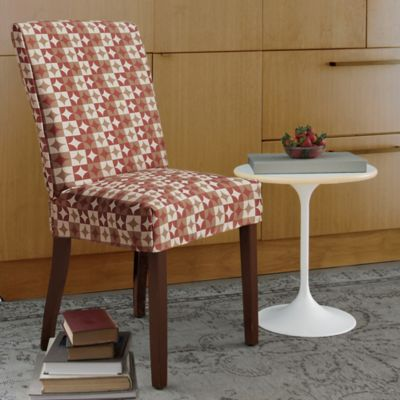 FurnitureSkins™ Avalon Dining Chair Slipcover With Buttons In Rustic Red