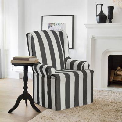 FurnitureSkins™ Hampton Wing Chair Slipcover In Charcoal