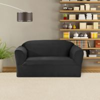 FurnitureSkins™ Bayview 1-Piece Loveseat Wrap Style Slipcover in Charcoal
