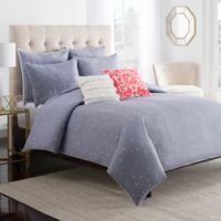 Chambray Dot King Duvet Cover in Blue