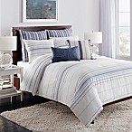 Cupcakes and Cashmere Indigo Stripe King Duvet Cover in White/Blue
