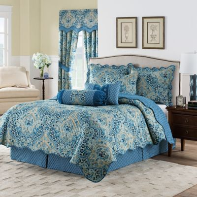 Waverly Moonlit Shadows Reversible King Quilt Set In Lapis