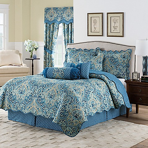 Waverly Moonlit Shadows Reversible Quilt Set In Lapis