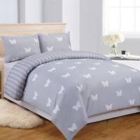 LaLa + Bash Wink Butterflies 2-Piece Reversible Twin Comforter Set in Grey