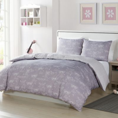 lala bash malar butterflies 2piece reversible twin comforter set in grey