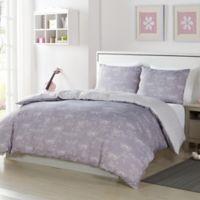 Lala + Bash Malar Butterflies 3-Piece Reversible Full Comforter Set in Grey