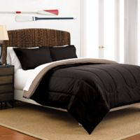 Martex 2-Tone Reversible Full/Queen Comforter Set in Ebony/Khaki