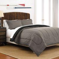 Martex 2-Tone Reversible Twin Comforter Set in Graphite/Ebony