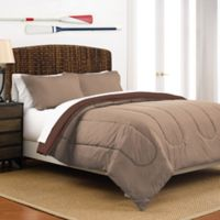 Martex 2-Tone Reversible Full/Queen Comforter Set in Khaki/Chocolate