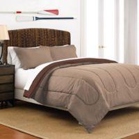 Martex 2-Tone Reversible Twin Comforter Set in Khaki/Chocolate