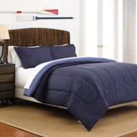 Martex 2-Tone Reversible Twin Comforter Set in Navy/Blue