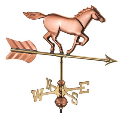 Good Directions Horse Garden Weathervane with Garden Pole in Polished Copper Finish