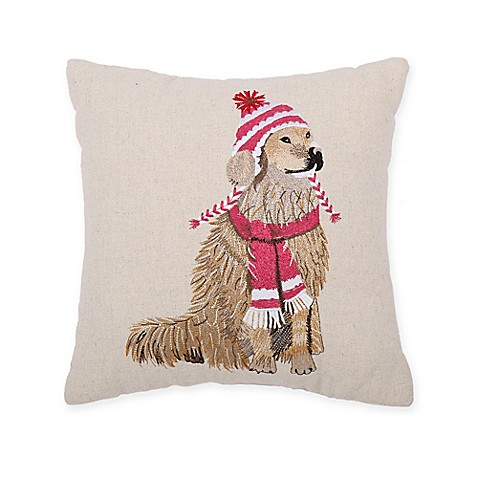 Cozy Shop Lab in Hat and Scarf Throw Pillow - Bed Bath & Beyond