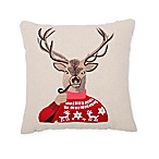 Cozy Shop 11-Inch Square Reindeer with Pipe Embroidery Throw Pillow