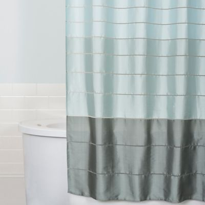 teal striped shower curtain. Modena Stripe Shower Curtain in Blue Buy from Bed Bath  Beyond